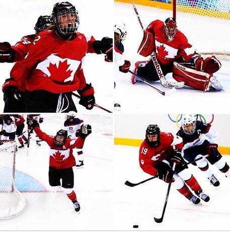 Canada beats USA 3-2 in overtime for the gold medal in one of the best moments of these Olympics. Amazing game! #cCanadavsUSA #sochi2014 #WomensHockey