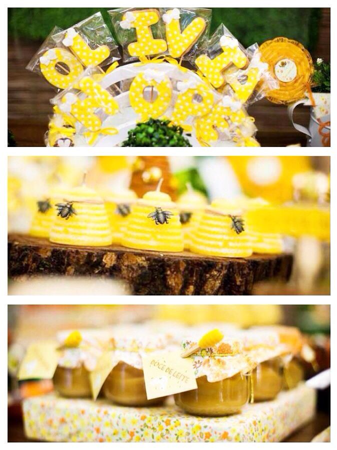 Bee themed 1st birthday party full of cute invitation, cake, favor, cupcake and decor ideas! Via Kara's Party Ideas KarasPartyIdeas.com