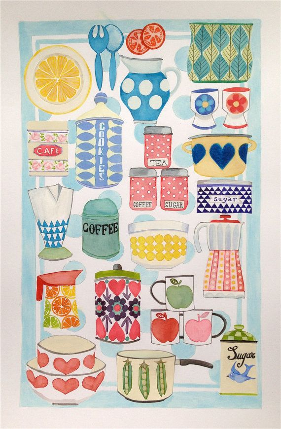 Retro inspired kitchenware, an Illustration of a quirky scandi inspired pattern. Colourful and fun kitchenalia illustration, lots of detail and fun,
