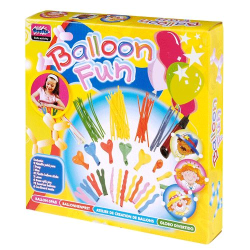 Complete set met 75 ballonen in alle soorten en maten, luchtpomp, lijm, ballonstokjes, lint, verfpennen, etc. Een feestje is dus voortaan zo gemaakt! Afmeting: doos 29 x 28 x 5,5 cm. - Ballonnenset, 75dlg.