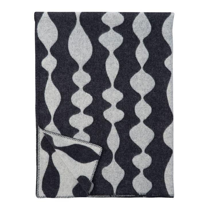 Margaret Rose Wool Blanket 130x180cm, Black, Klippan Yllefabrik