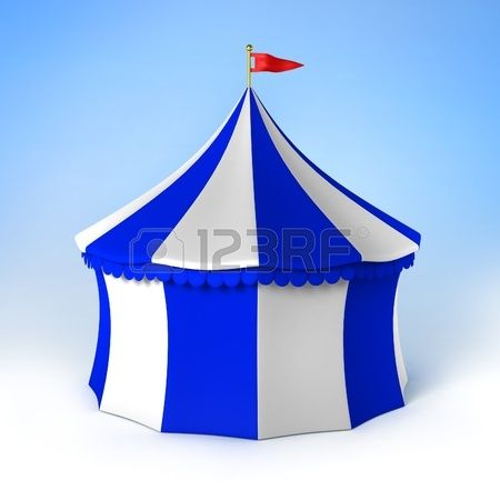 Parte del circo carpa azul y rayas blancas Foto de archivo