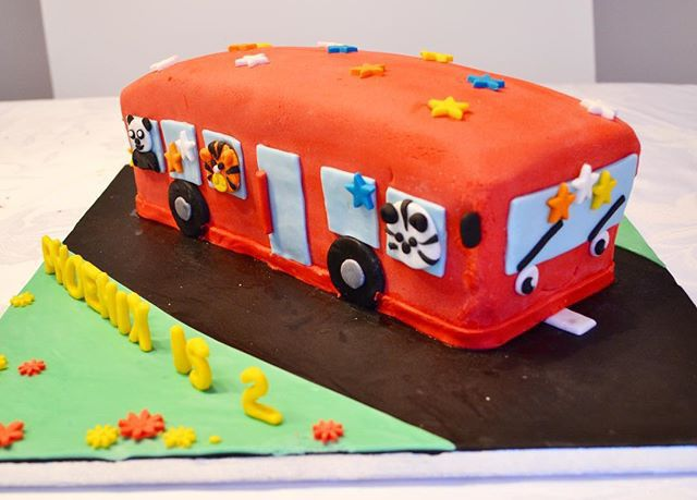 Wheels on the Bus Cake by Aliya's Cakes | Birthday Cake | Kid's Birthday Cake | Celebration Cake | Shaped Cake