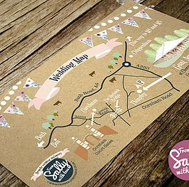 Wedding map for Hannah and Barney's wedding invitations. This couple wanted a vintage inspired, festival style wedding invitation on kraft card. #bespoke #wedding #invitation #love #engaged #vintage #banner #bunting #floral #personalised #weddingmap #map #festival #kraft #brown #prink #blush #fun #relaxed #corsham #wiltshire