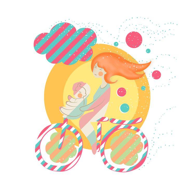 Gezellig met mijn meisje op de fiets. Illustratie. #warmekleuren