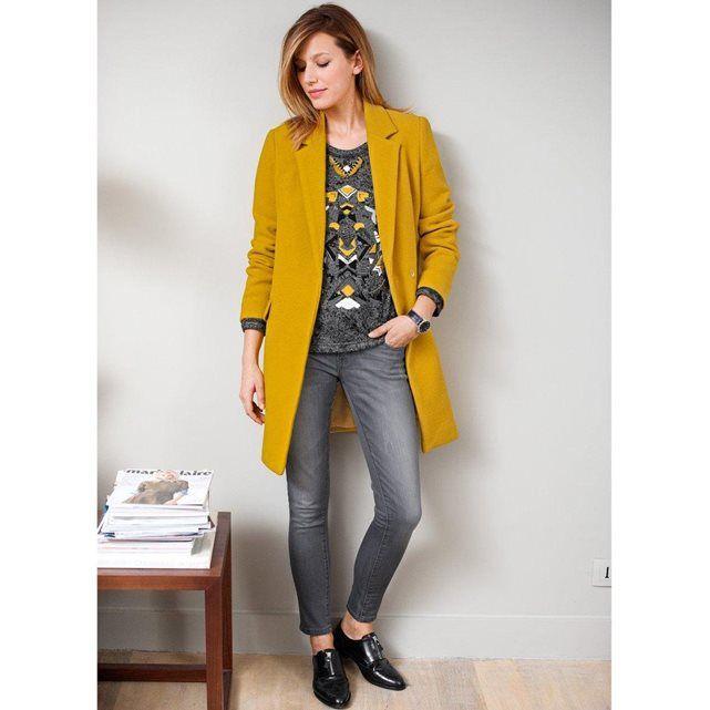 Manteau droit SEE U SOON: super la couleur jaune moutarde!
