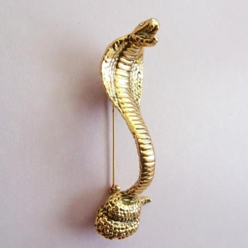 verkopers.marktplaats.nl/7443487 XL Grote #vintage 60s 70s #Cobra #slang #broche #goud klr. #sieraden #vintagesieraden #costumejewelry #snake #jewelry