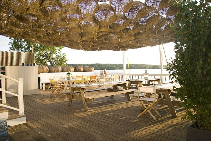 The restaurant was inspired by the culture and lifestyle of Byron Bay, one of Australia's most authentic surf towns.Surf Lodges, Outdoor Dining, Beach House, Decks, Outdoor Living, Long Islands, Montauk Surf, Baskets, Hotels