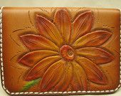 Pink tooled leather flower business card case , Pink , business card case , card wallet