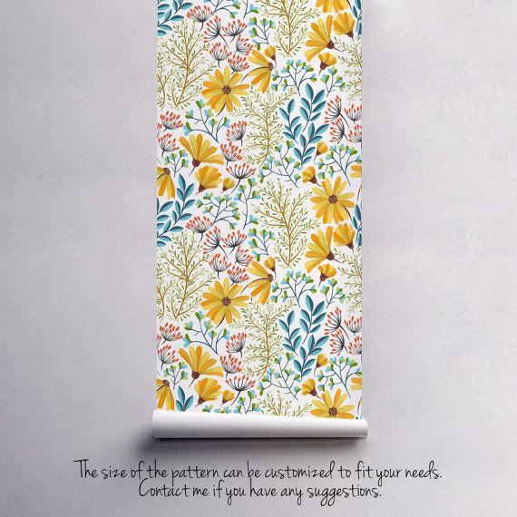 Peler et coller le papier peint floral printemps  Fond