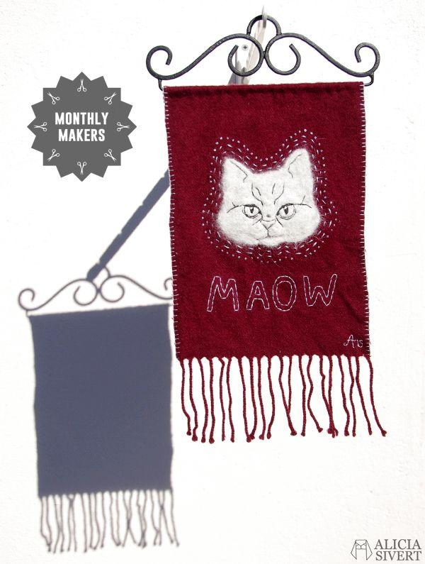 Needle felted cat portrait av Alicia Sivertsson
