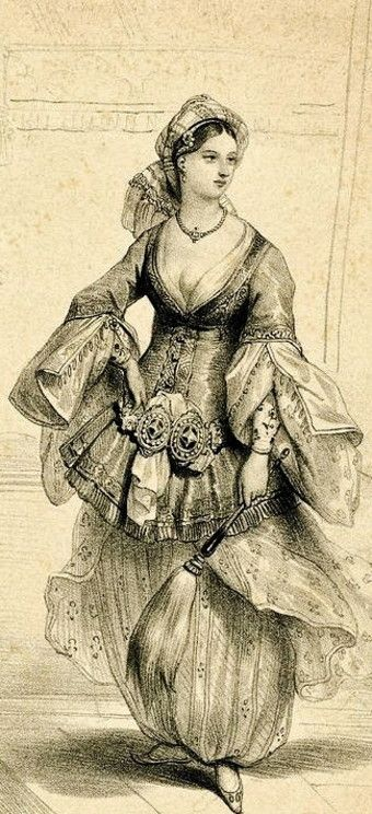 A woman from Istanbul, standing, wearing a typical Turkish indoors costume and holding a sort of fan.  1831  Lithograph.