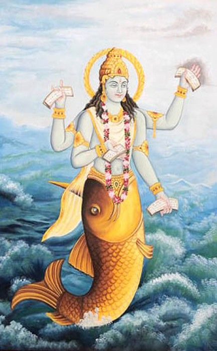 Matsya is the first incarnation of the avatar Vishnu. it is said that he took the form of a fish in order to save Manu from the apocalypse. He later takes his boat to the new world with one of each species of animal and plant life.