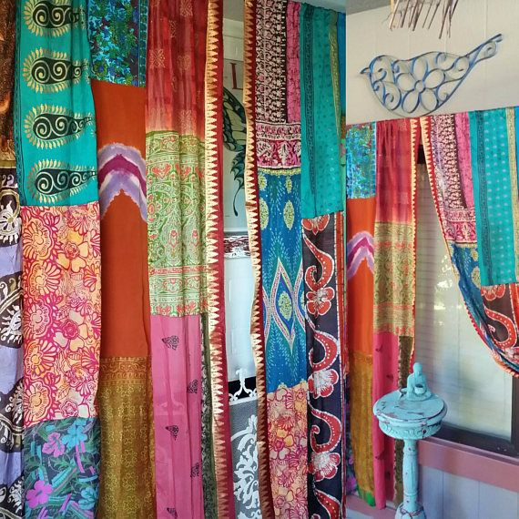 INDIAN Fall CURTAINS.... Super Duper Hippie Curtains handmade by Hippiewild These were created out of every pretty bit..they are silk. cotton, patchworked.. Gorgeous Sari Ribbon on the insides. Also includes Sari Ribbon tiebacks They are pretty from both sides! We are creating the