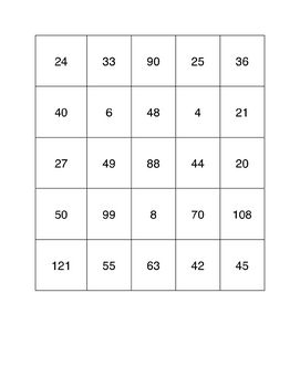 Multiplication Bingo using numbers 2 to 12. Includes 12 Bingo cards and cards with the multiplication questions.