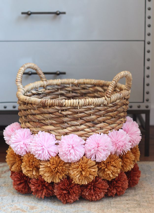 Creative Crafts Made With Baskets - DIY Pom Pom Basket - DIY Storage and Organizing Ideas, Gift Basket Ideas, Best DIY Christmas Presents and Holiday Gifts, Room and Home Decor with Step by Step Tutorials - Easy DIY Ideas and Dollar Store Crafts http://diyjoy.com/diy-basket-crafts