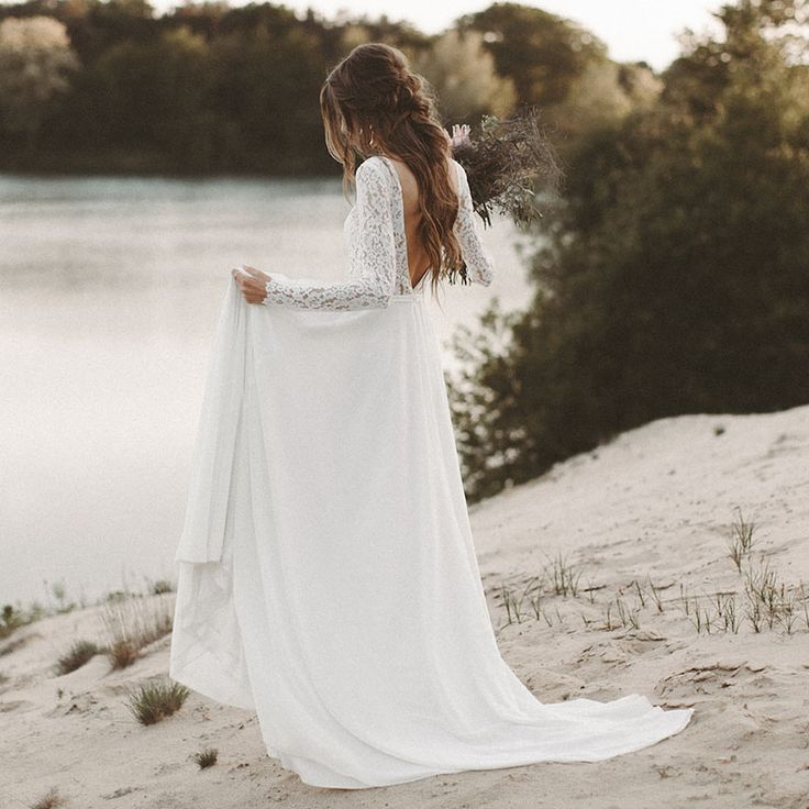 V Neck Backless Marriage ceremony Attire, Lace Chiffon A Line Marriage ceremony Robes, White Bridal Attire, Elegant Marriage ceremony Celebration Attire