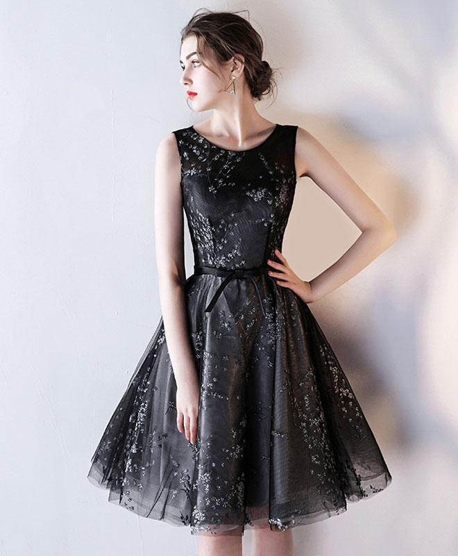 34701020065 Cute black tulle prom dress