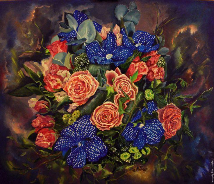 """Купить """"Цветочная симфония""""-художник Лариса Григ - коралловый, картина в подарок, картина для интерьера"""