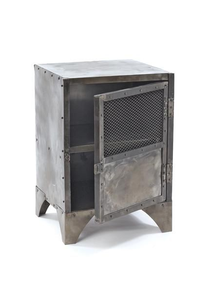 Vintage Steel Shoe Locker Style Side Table in Metal