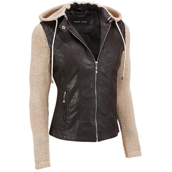 Leather jacket with sweater sleeves
