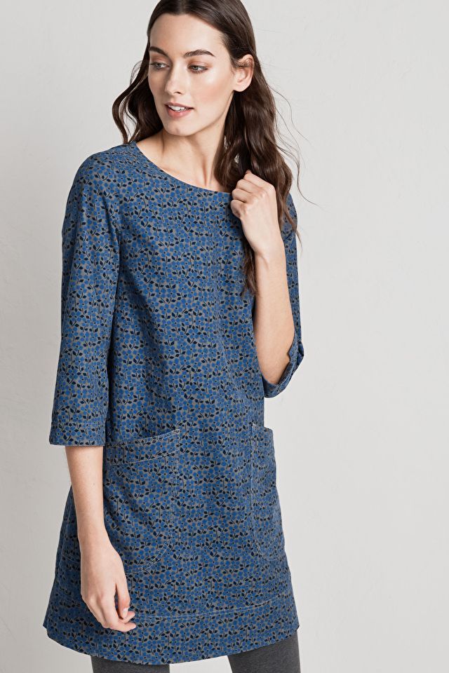#SeasaltComfortAndJoy Women's tunic made from beautifully soft cord in a choice of unique Seasalt prints. The gentle A-line shape is flattering & ideal with leggings & ankle boots.