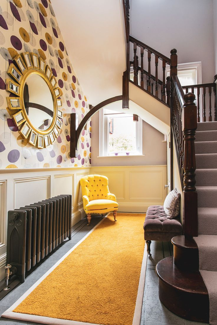 Best Stunning Hallway With Yellow Carpet And Statement 400 x 300