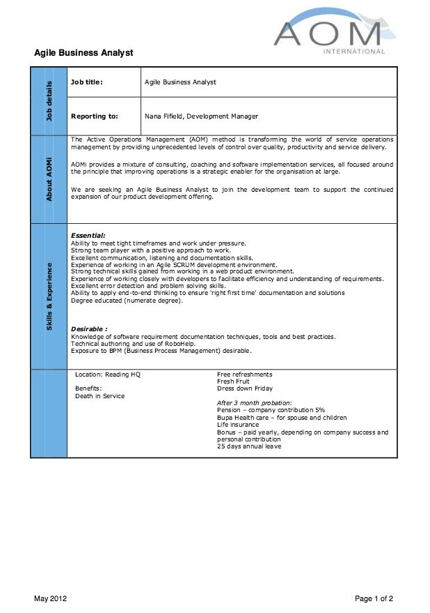Agile Business Analyst Job Description Resume -   - agile resume