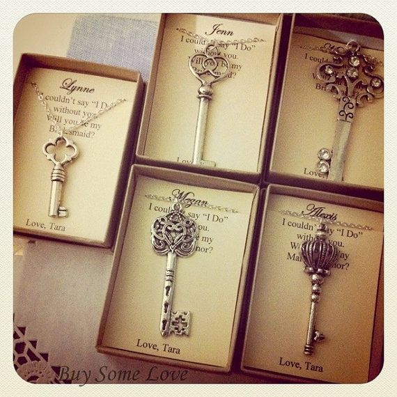 Bridesmaids thank you gifts, ask bridal party, wedding party gifts silver key necklace. FREE personalized note cards jewelry box.