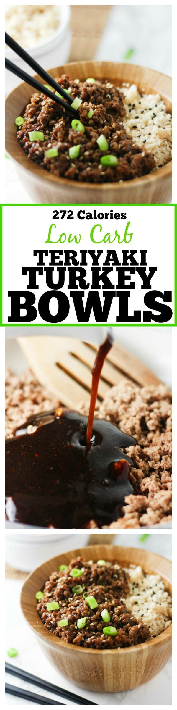 These delicious and easy Low Carb Teriyaki Turkey Bowls are ready in under 30 minutes and packed with tons of flavor! www.itscheatdayeveryday.com
