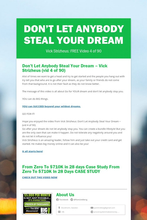 Don't Let Anybody Steal Your Dream