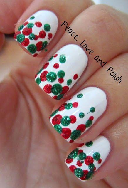 Red and green nail design, Christmas nail design, holiday nail design
