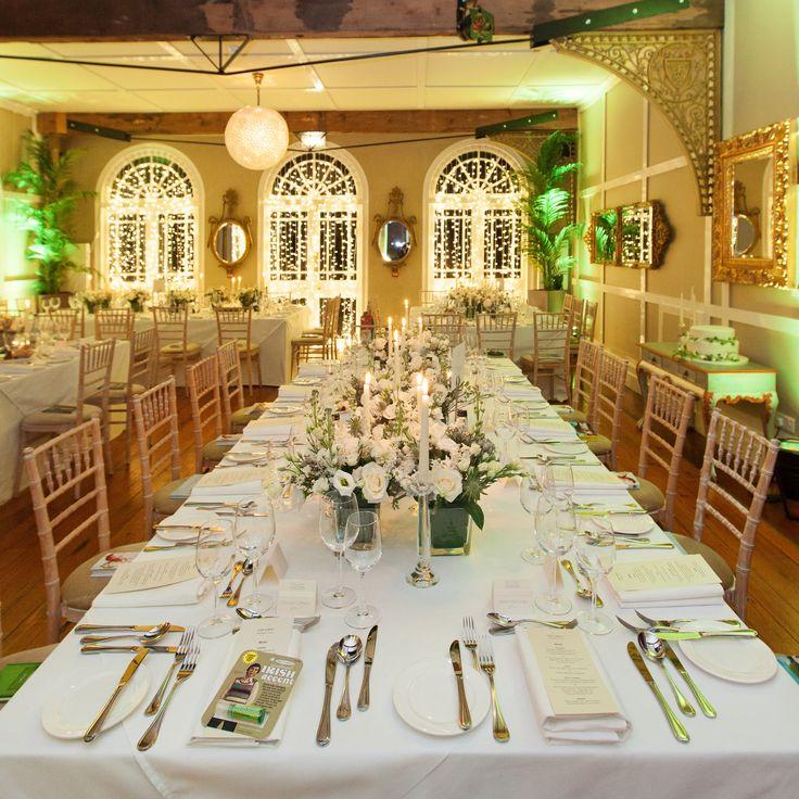 Wedding dinner tablescape, Ballinacurra House