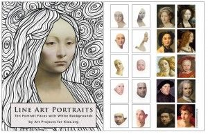 I've created an ebook to support this line art project idea. Drawing new art around classically painted faces makes for all kinds of creative possibilities. #portraitart