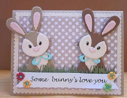 Voorbeeldkaart - some bunnie`s love you - Categorie: Stansapparaten - Hobbyjournaal uw hobby website