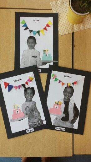 Birthday picture cards for birthday bulletin board