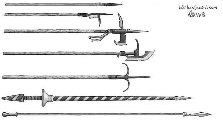 Weapons: halfspear, guisarme, halberd, glaive, hook, lance and longspear/pike, Niels Vergouwen watkanjewel.com