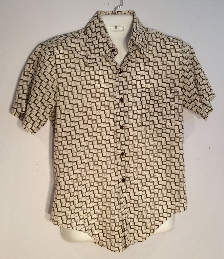 LeMans mens short sleeve shirt brown geometric print vintage hipster theater costume gift summer by Vintageroyaleny on Etsy https://www.etsy.com/listing/520720365/lemans-mens-short-sleeve-shirt-brown