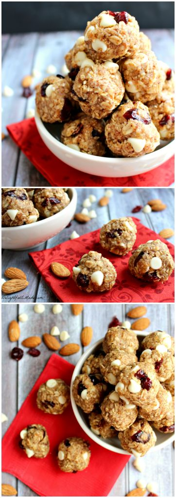 Cranberry Almond Energy Bites by DelightfulEMade.com   The perfect healthy no-bake snack that tastes just like oatmeal cookie dough!