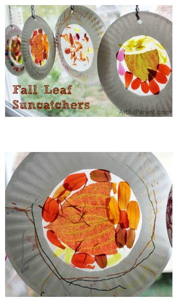 Kids Crafts with Fall Leaves - Autumn Nature Suncatchers