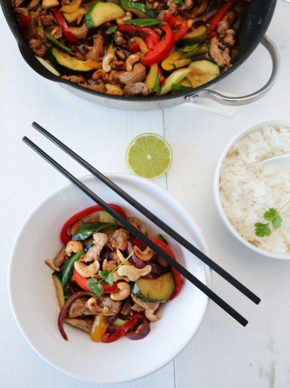Wok med svin, paprika, squash og ingefærsaus