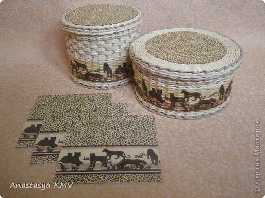 Поделка изделие Декупаж Плетение Плетеные шкатулки и не только  из бумаги Салфетки Трубочки бумажные фото 3