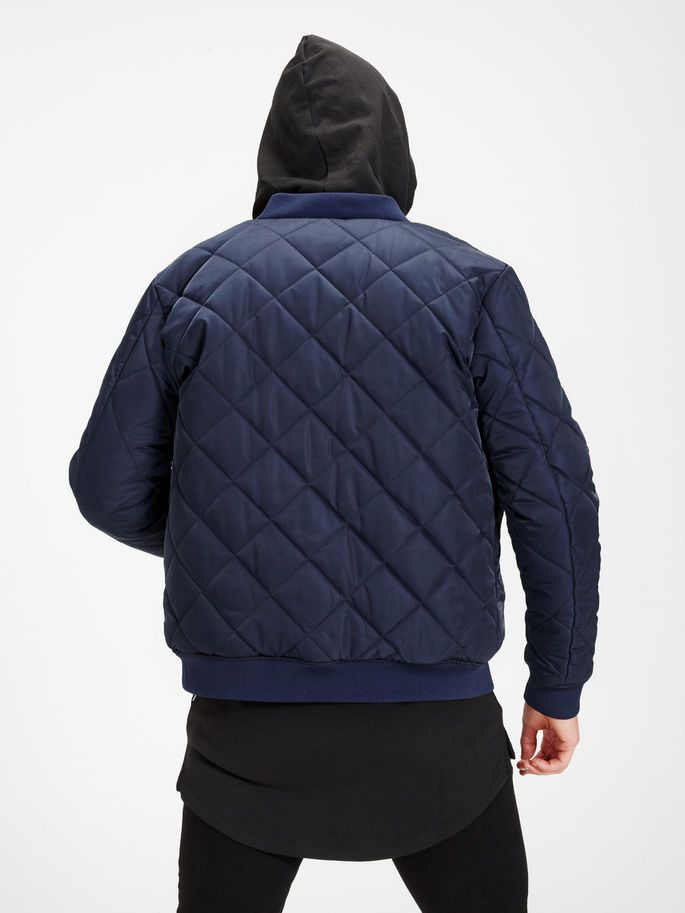 CORE by JACK & JONES - Quilted Bomber Jacket, Navy blue, black