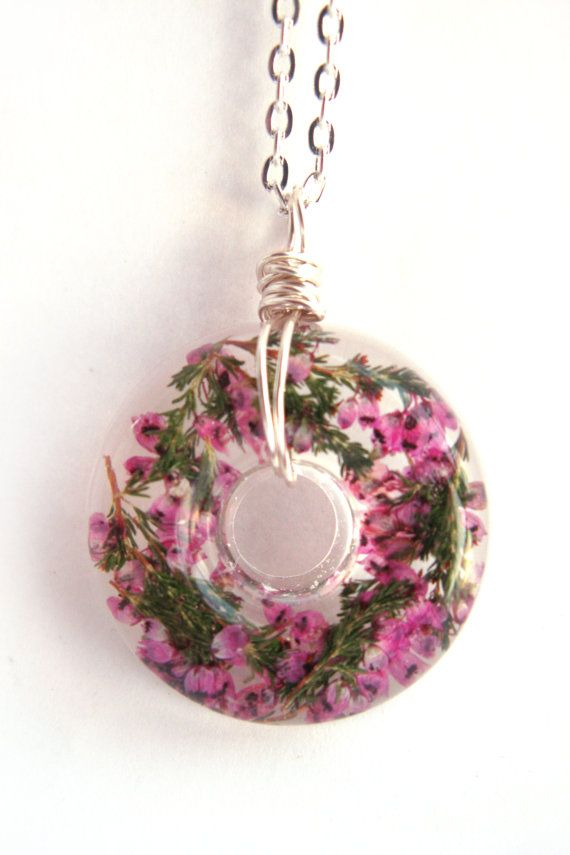 Real Purple Heather Necklace Heather in Resin by ScrappinCop