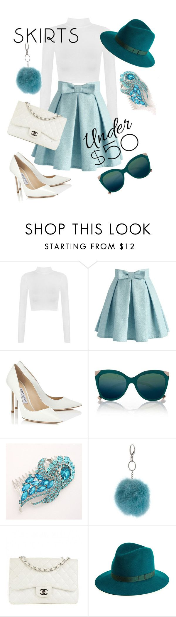"""Skirts under 50"" by stylebycharlene on Polyvore featuring WearAll, Chicwish, Jimmy Choo, River Island, Miss Selfridge, Chanel, rag & bone, outfit, under50 and skirtunder50"