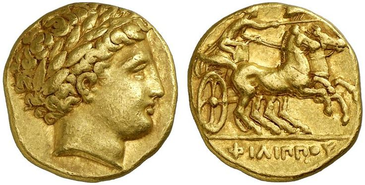 AV Stater. Greek Coins, Italy, Kingdom of Macedonia, Philip II., king 359-336 BC, Pella. Circa 345-336 BC. 8,55g. VF. Price realized 2011: 3.500 USD.