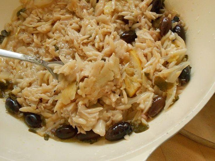 Λεμονάτος μπακαλιάρος με κριθαράκι και ελιές - http://www.zannetcooks.com/recipe/kritharakimpakaliaroselies/