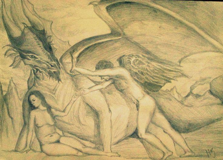 """""""La princesa, el príncipe y el dragón"""" Grafito sobre block, digitalizada en tono sepia. Creación de MZ."""
