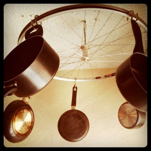 bike wheel pot rack