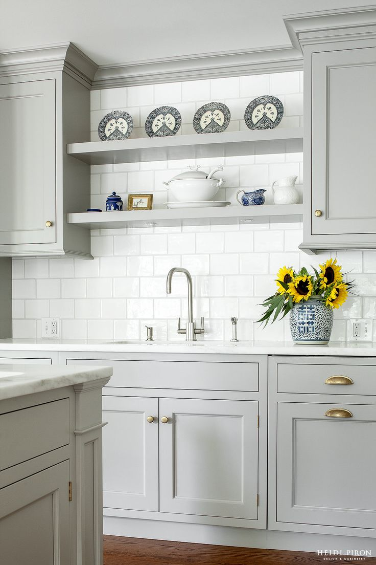 Heidi Piron Design and Cabinetry - Traditional - shelving over sink when no  window  Grey Kitchen CabinetsShelves Over Kitchen ...
